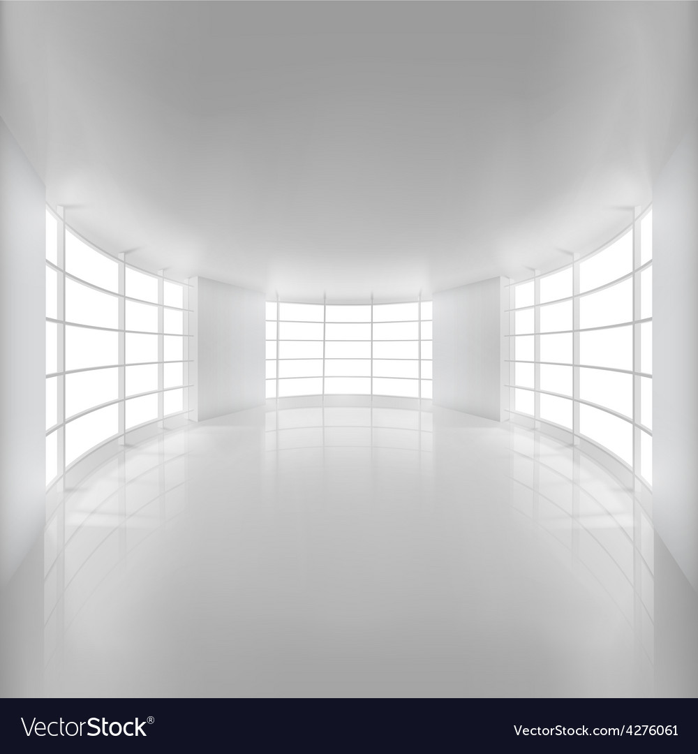 White rounded room illuminated by sunlight vector