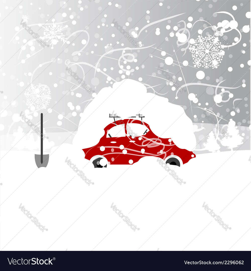 Car with snowbank on roof winter blizzard vector