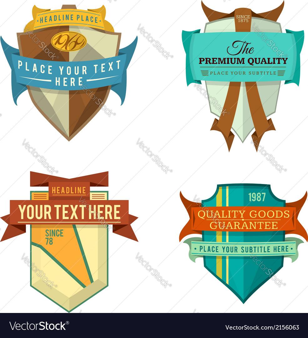 Set of logo retro ribbon labels and vintage vector