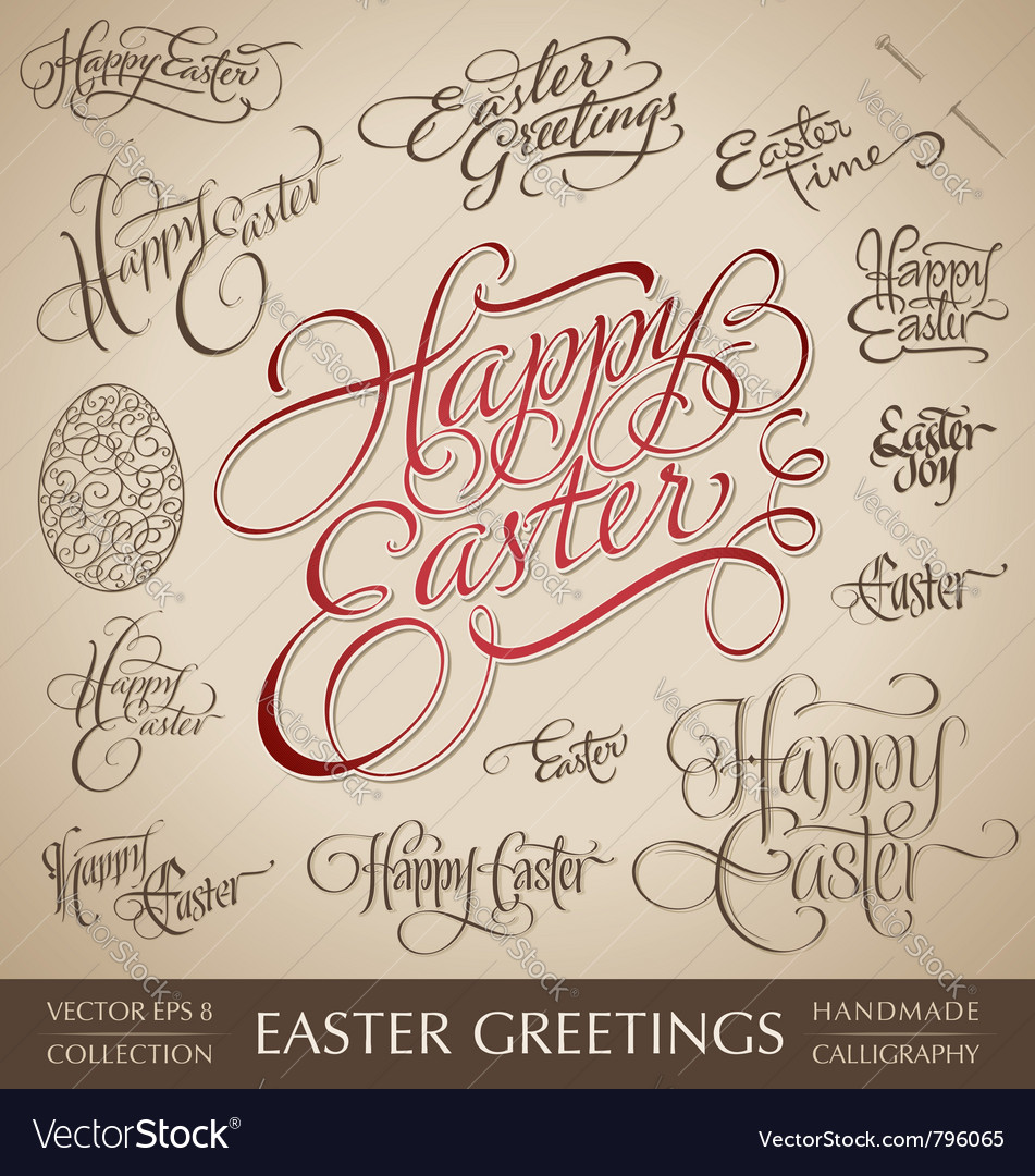 Easter greetings hand lettering set vector