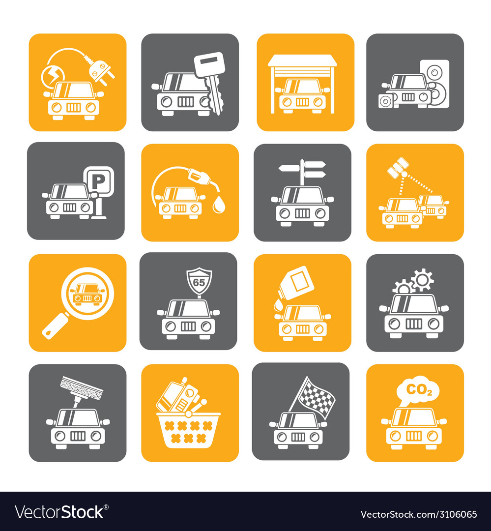 Silhouette car and road services icons vector