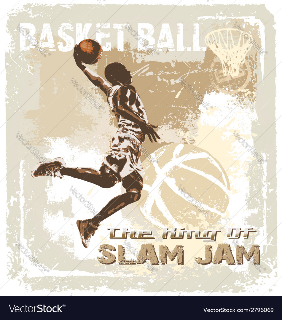 Slam jam basketball vector