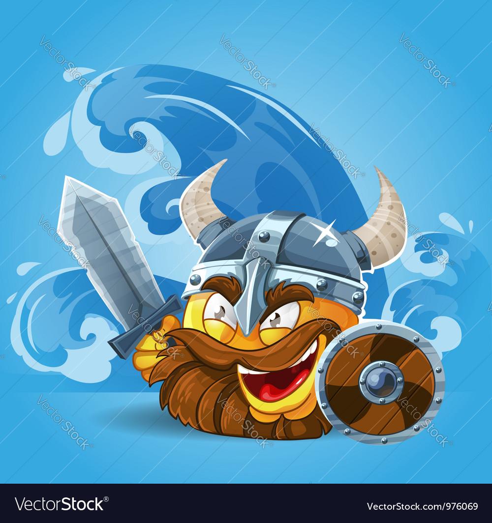 Smile viking in helmet vector