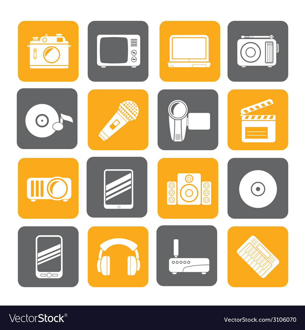 Silhouette media and technology icons vector