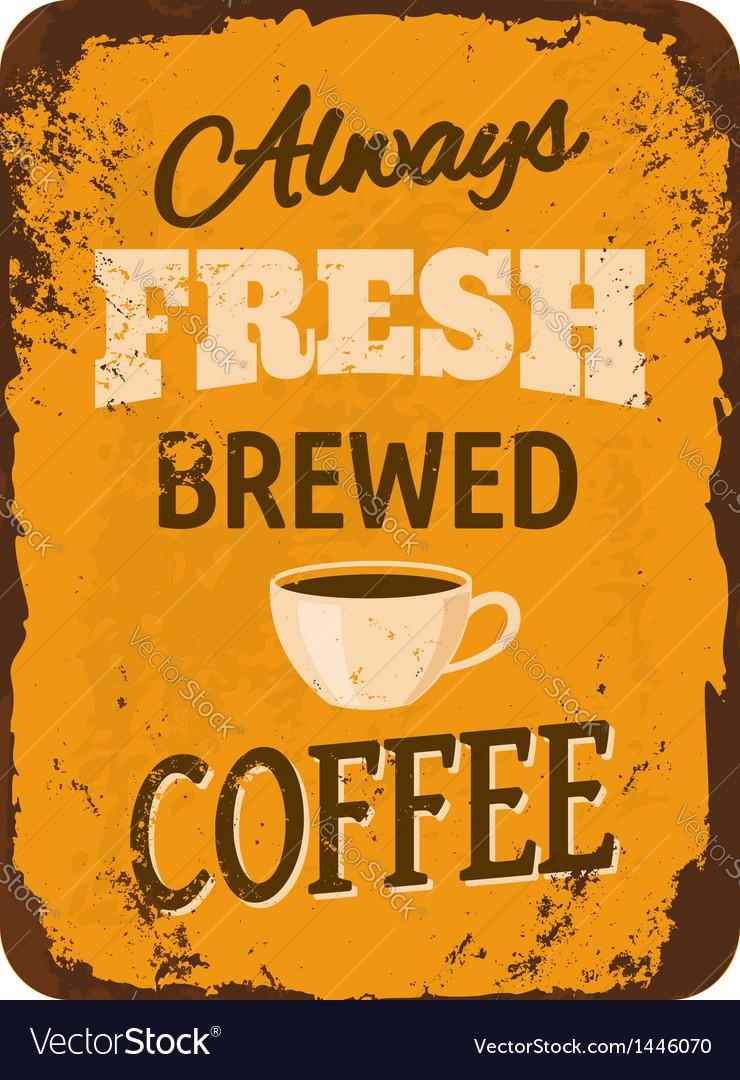Vintage coffee tin sign vector