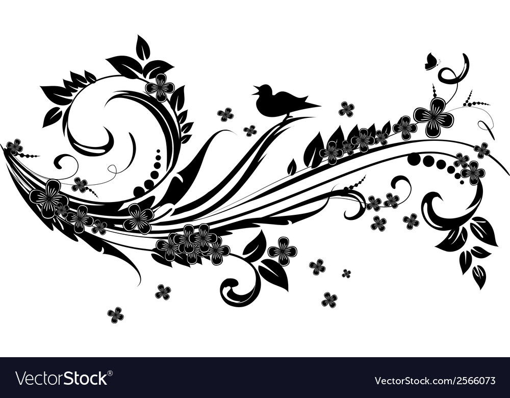 Abstract floral swirl for you design vector