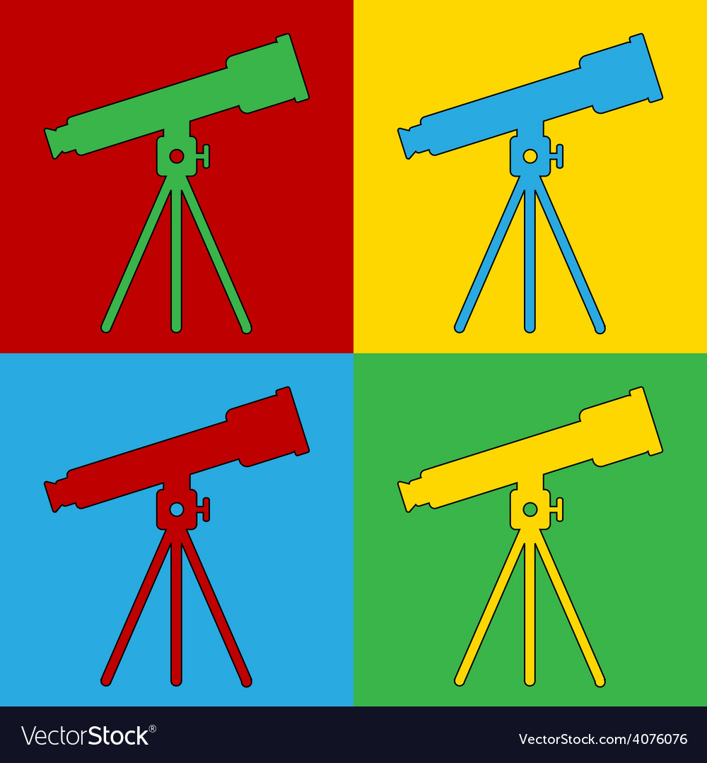 Pop art telescope icons vector