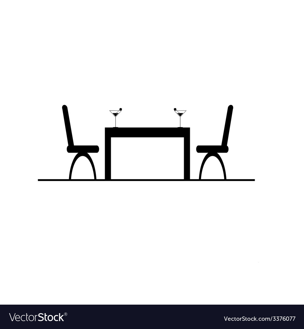 Table with two chair and drink vector