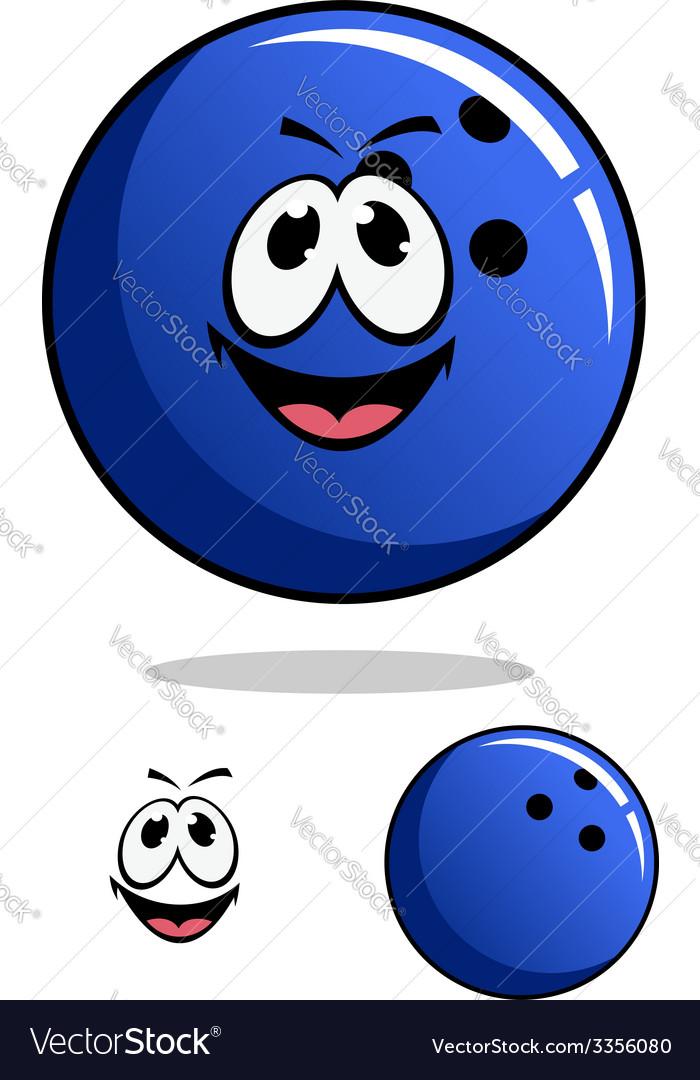 Blue bowling ball character vector