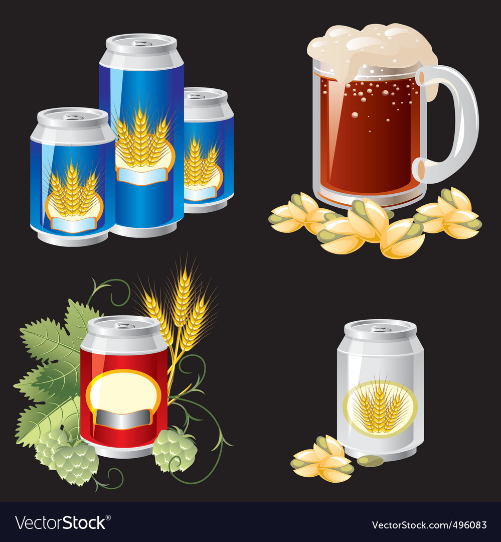 Beer objects vector