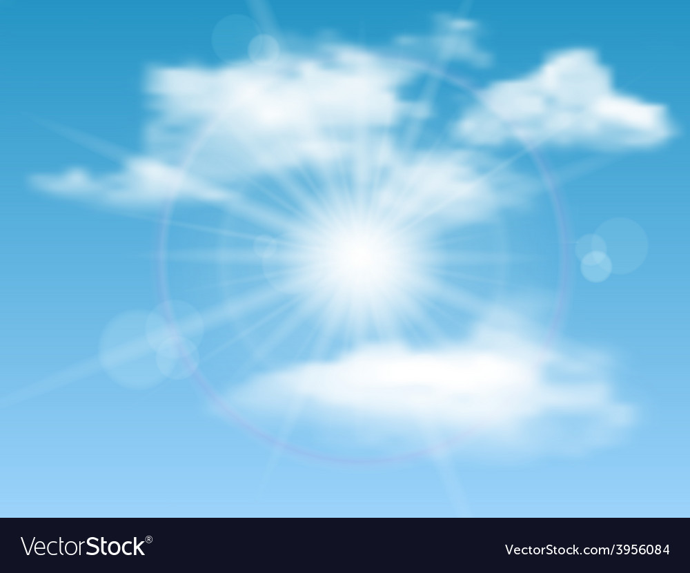 Nature background with sky sun and clouds vector