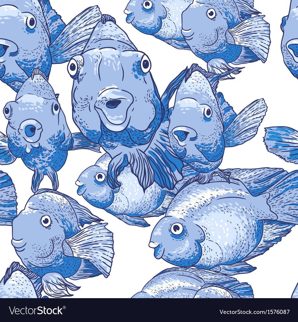 Seamless ornament with blue fish vector