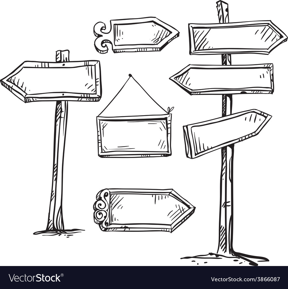 Set of signboards vector