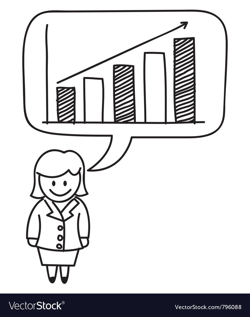 Businesswoman growth graph vector