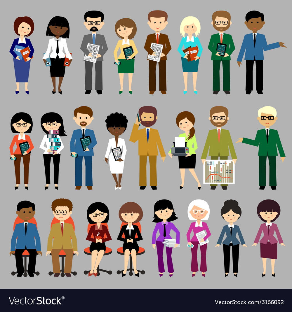 Big set of business people vector