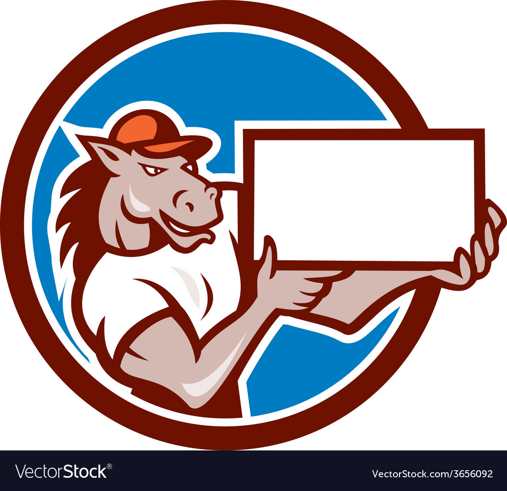 Horse presenting blank sheet board circle cartoon vector