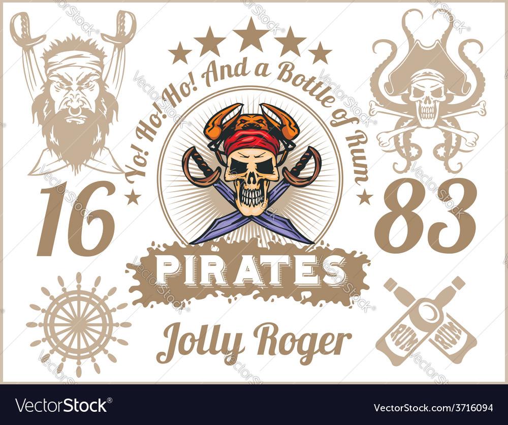 Jolly roger - pirate design elements set vector