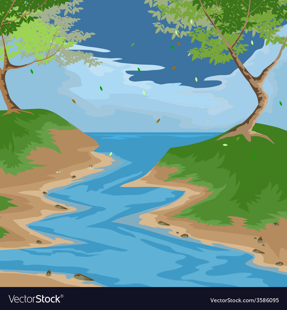 Forest scenery vector