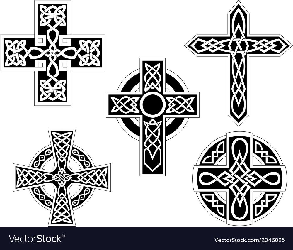 Set of celtic crosses vector