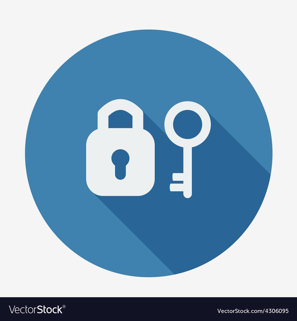 Single flat icon with long shadow key and padlock vector