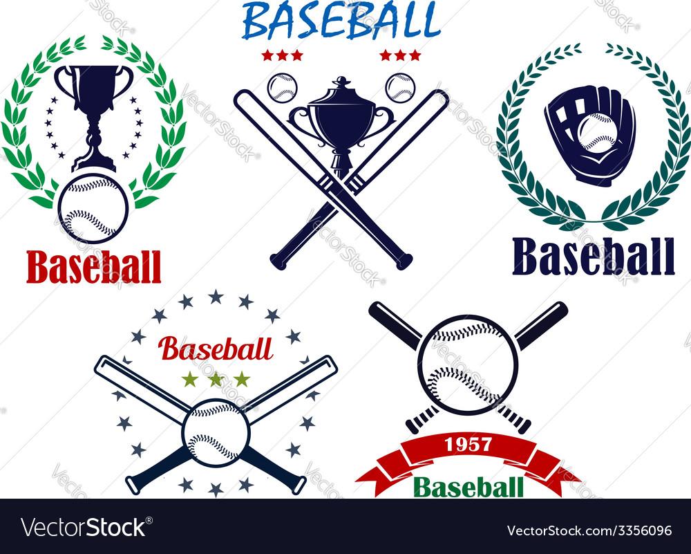 Baseball sporting emblems and symbols vector