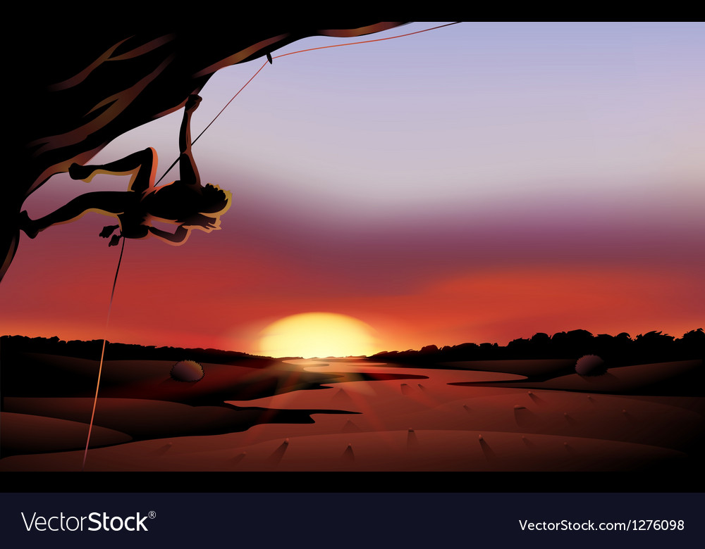 A sunset scenery at the desert vector