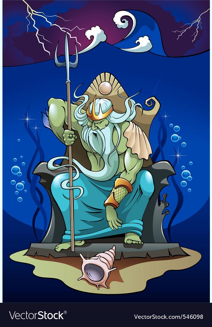 Poseidon the god of the sea vector