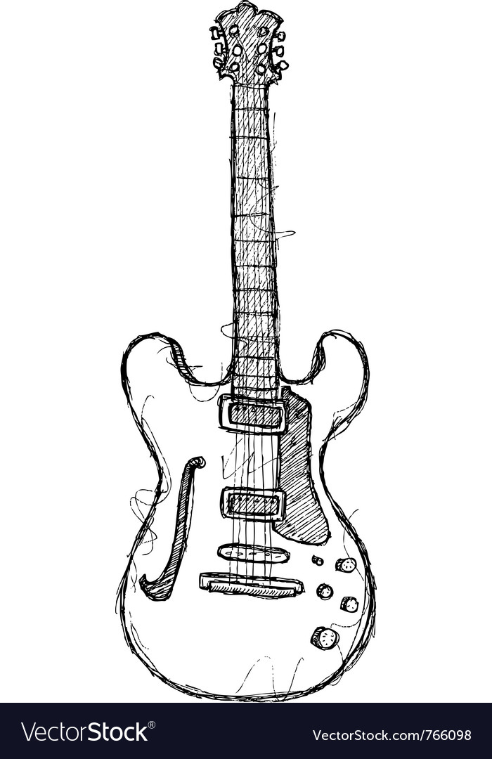 Scribble series - guitar vector