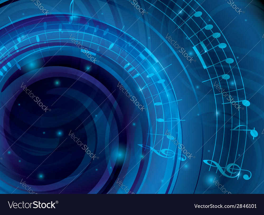 Abstract blue background with musical notes vector