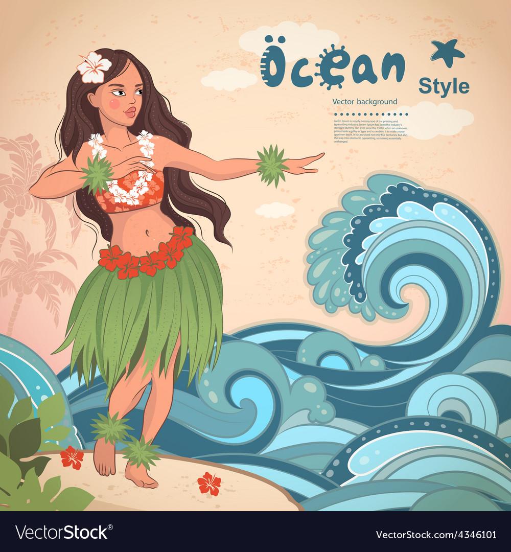 Retro style hawaiian beautiful hula girl vector