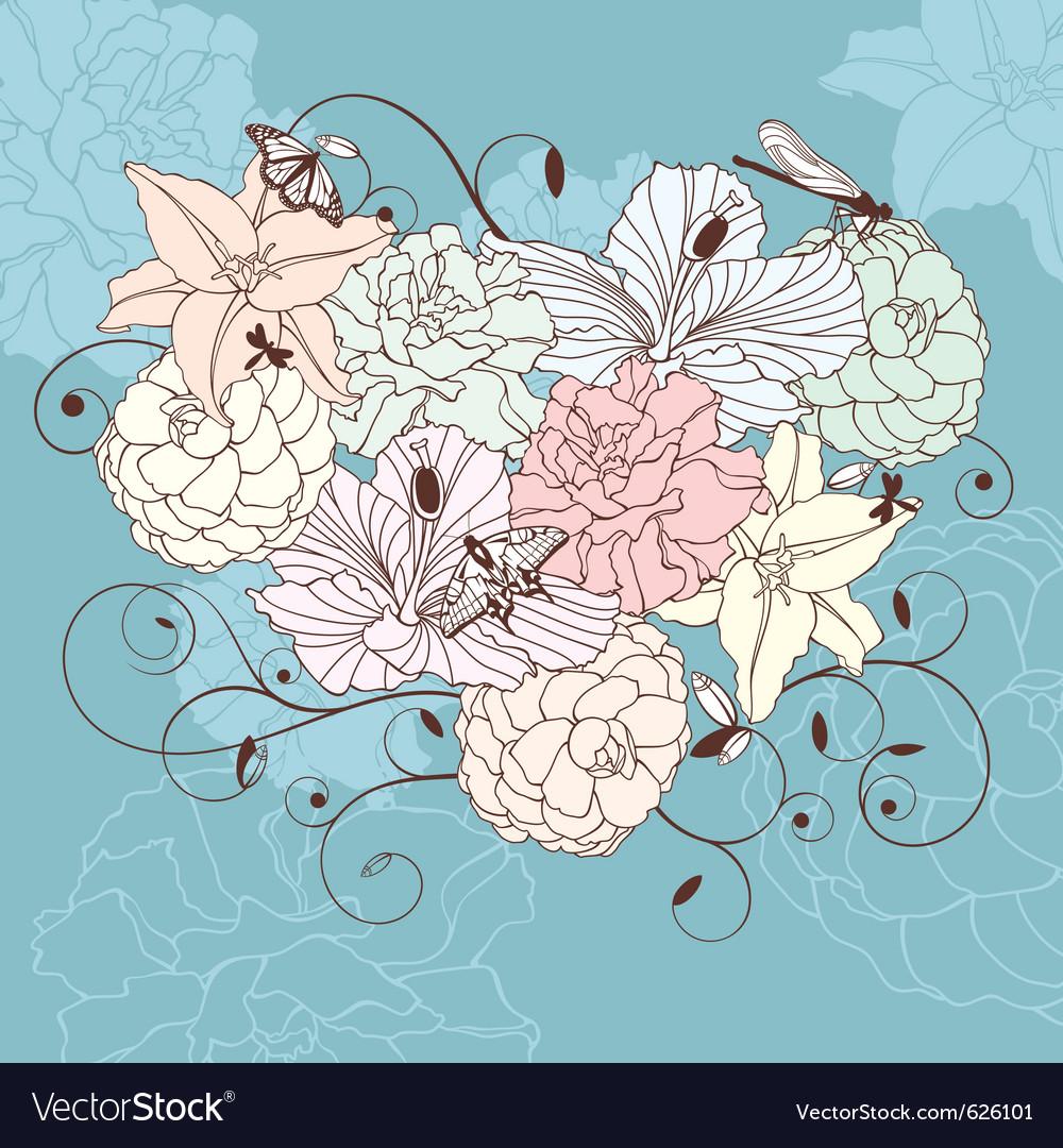 Romantic floral heart vector