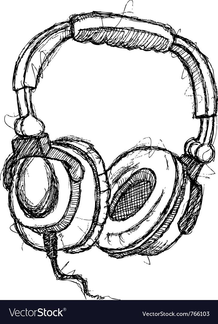 Scribble series - headphones vector