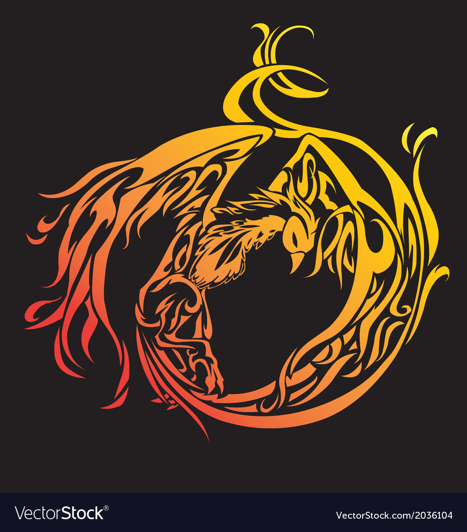 Phoenix with straighten wings abstract ill vector