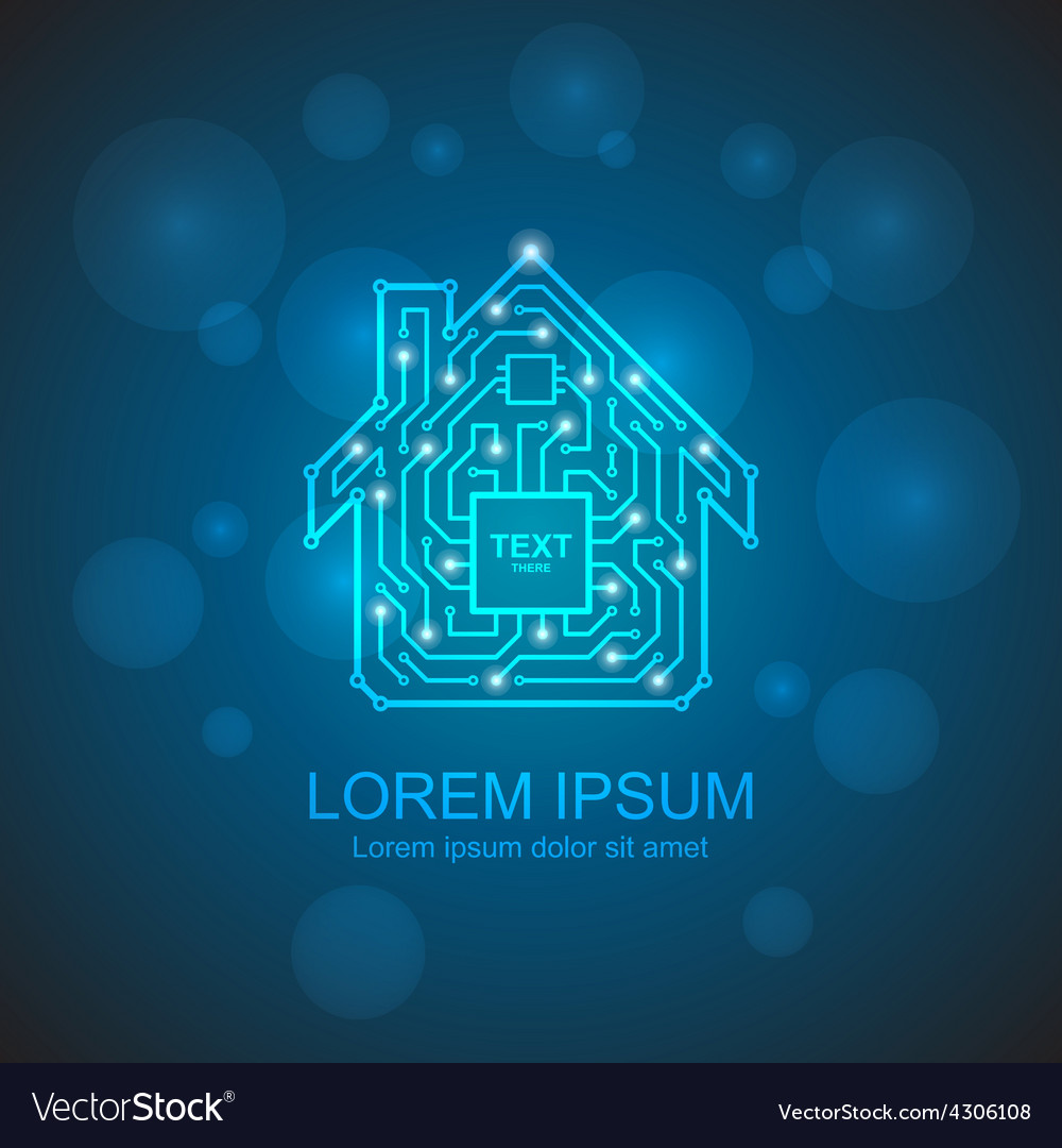 Circuit board house icon home automation concept vector
