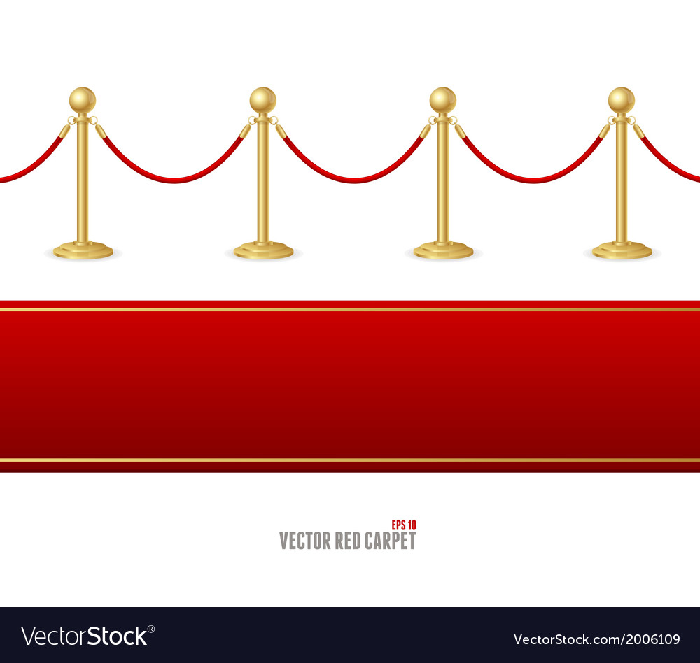 Red event carpet and barrier rope vector