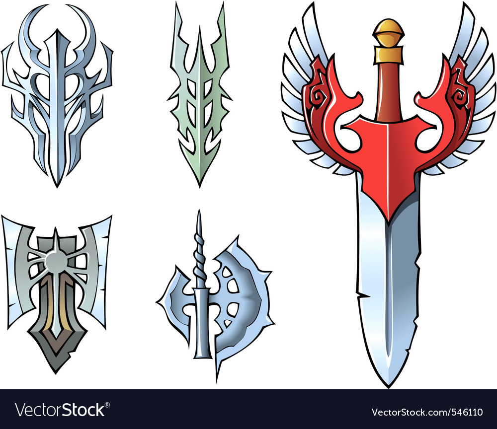 Fantasy sword set vector