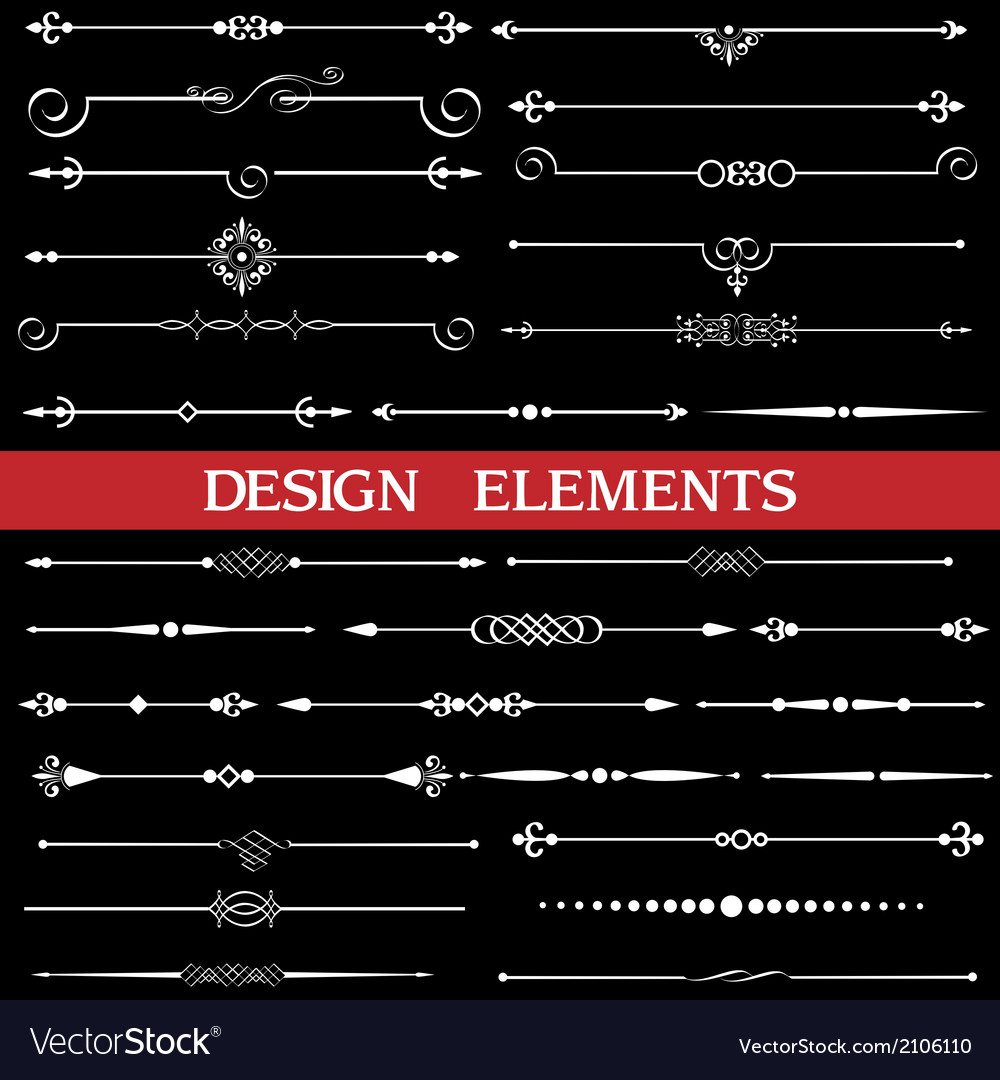 Set of calligraphic borders and page decor vector