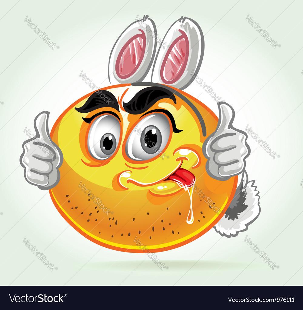 Smile mad white rabbit costume vector