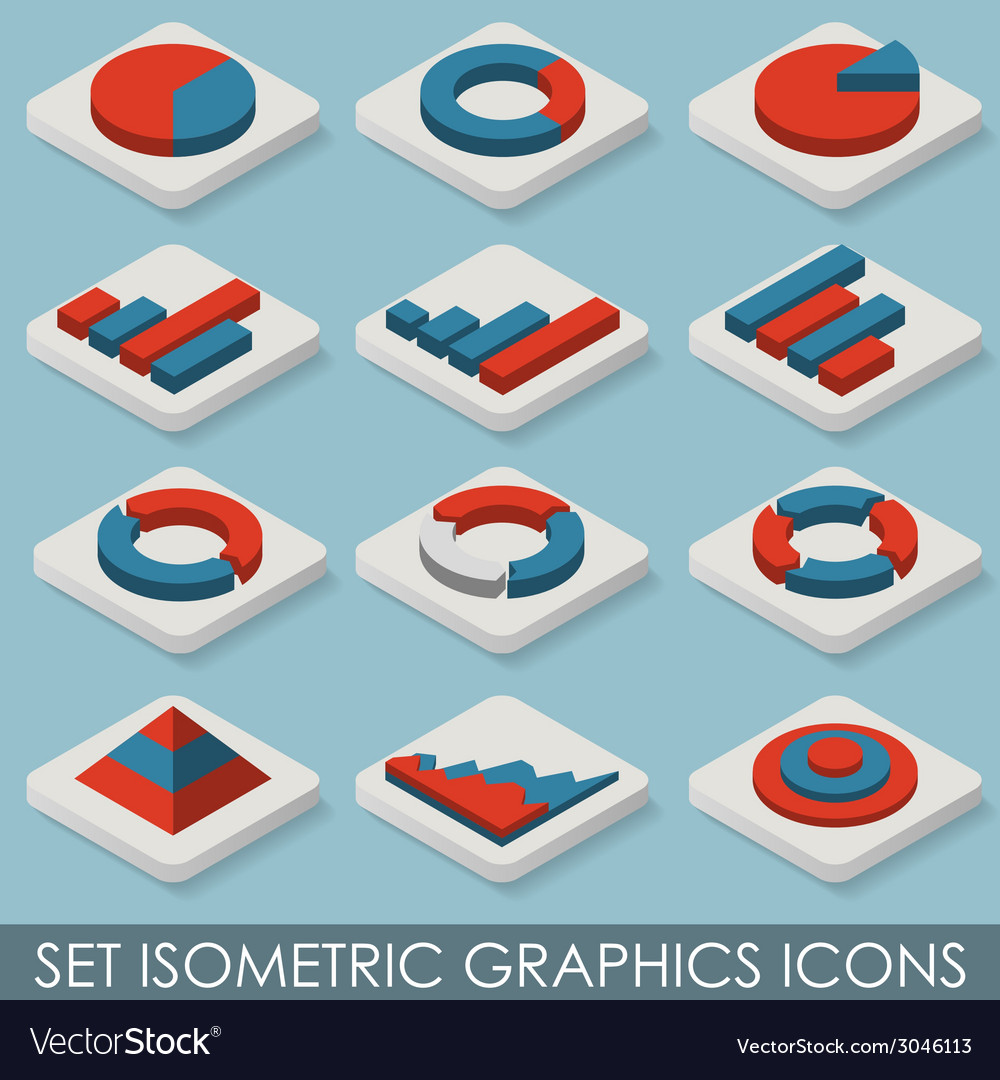 Flat set isometric graphics icons infographics vector