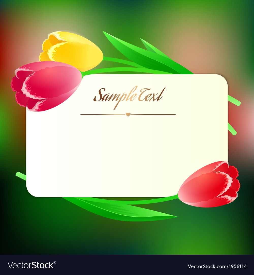 Beautiful rectangular greating card with spring vector