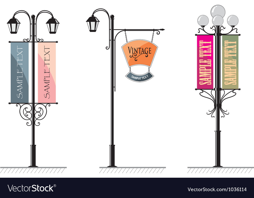 Vintage lamp post signs vector