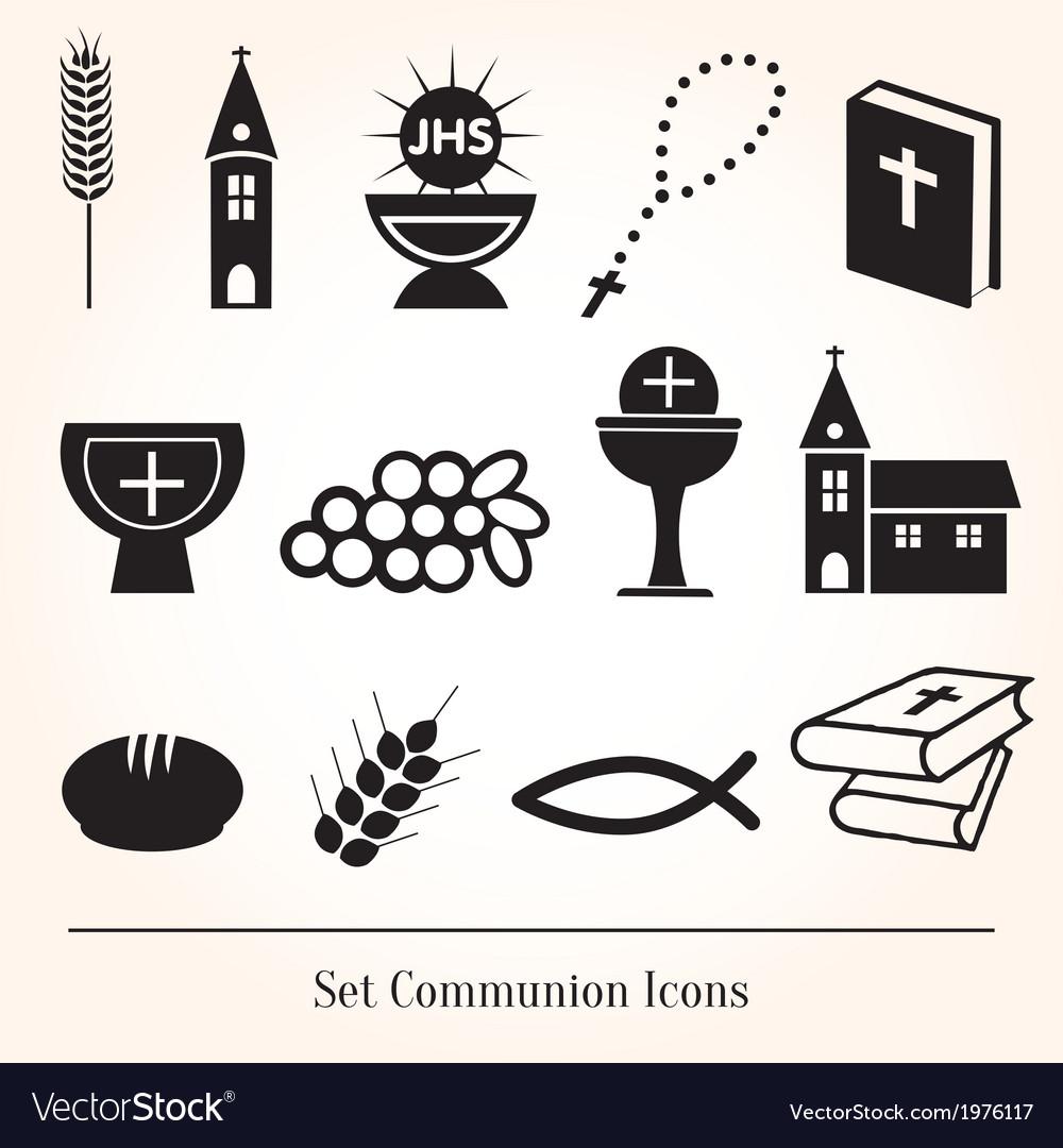 Set communion catholic icons vector