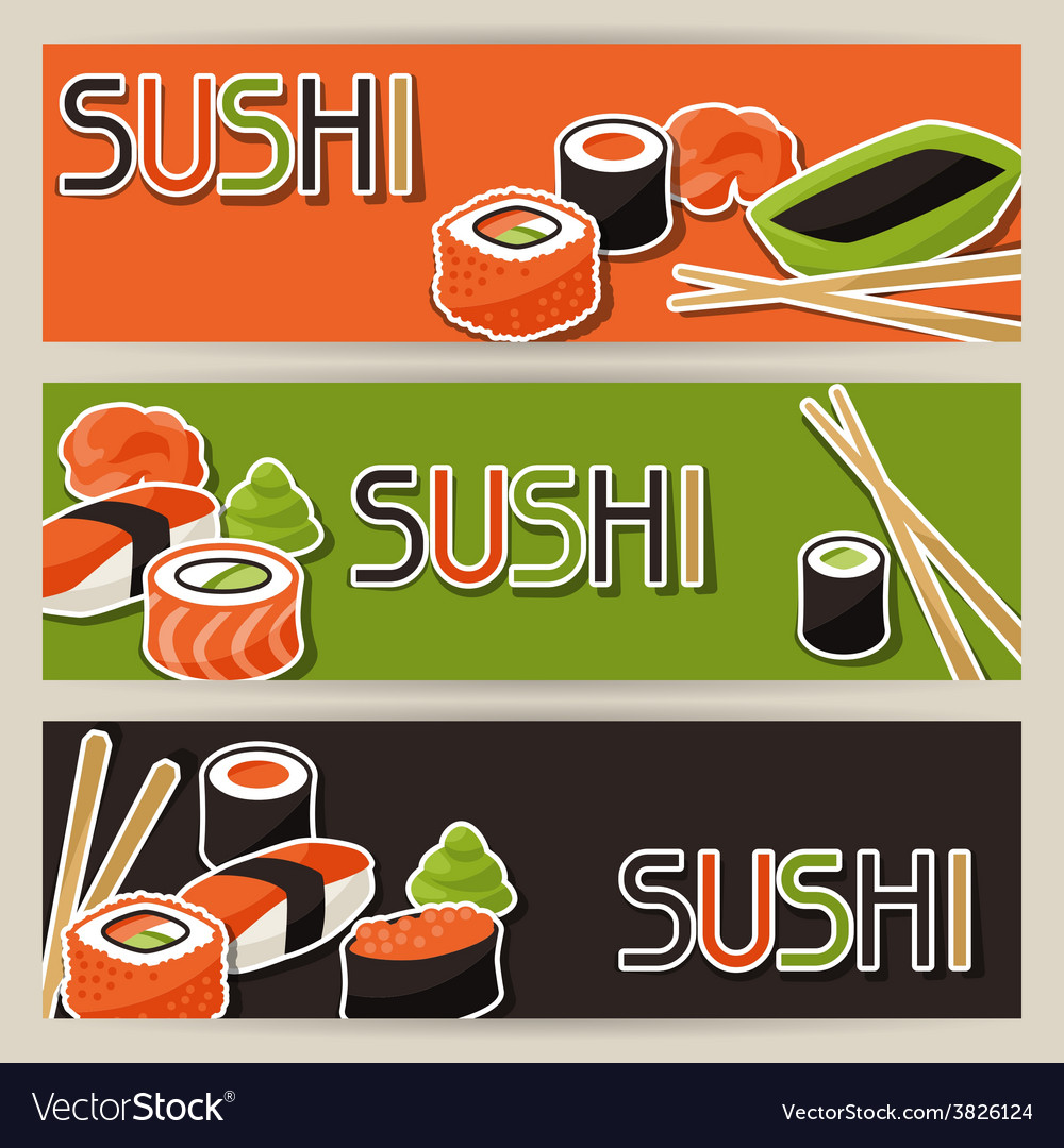 Banners with sushi vector