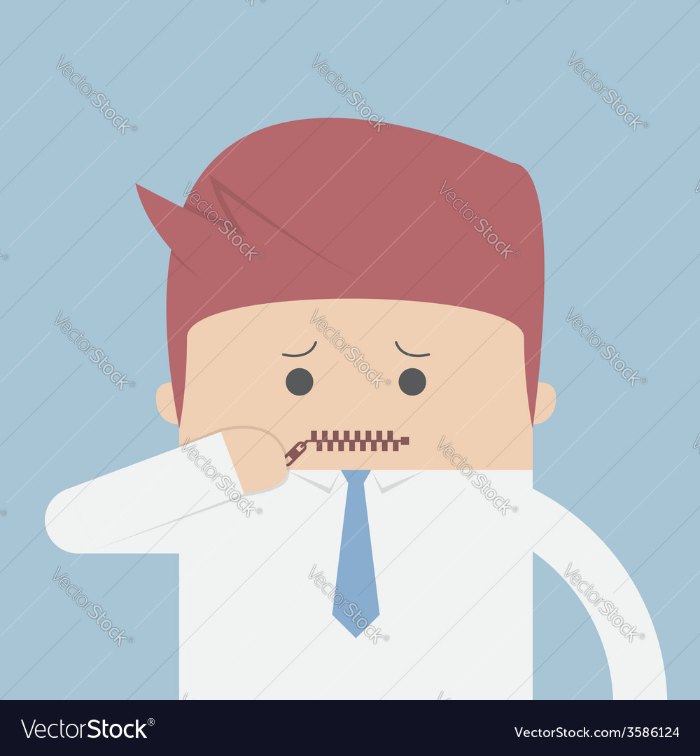 Businessman zipped his mouth inarticulate concept vector