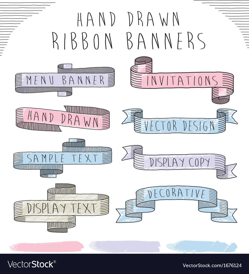 Hand drawn banner and ribbon design set vector