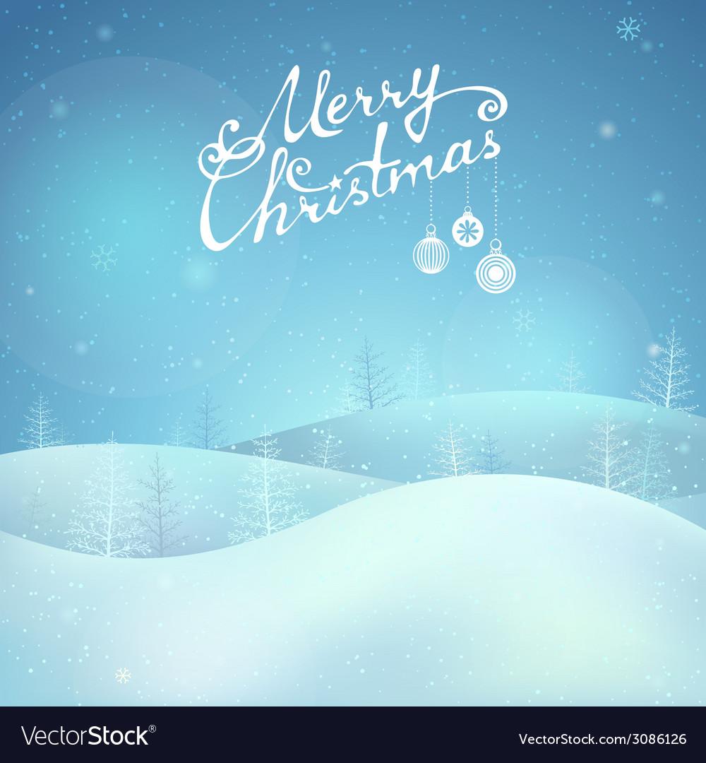 Merry christmas night landscape vector