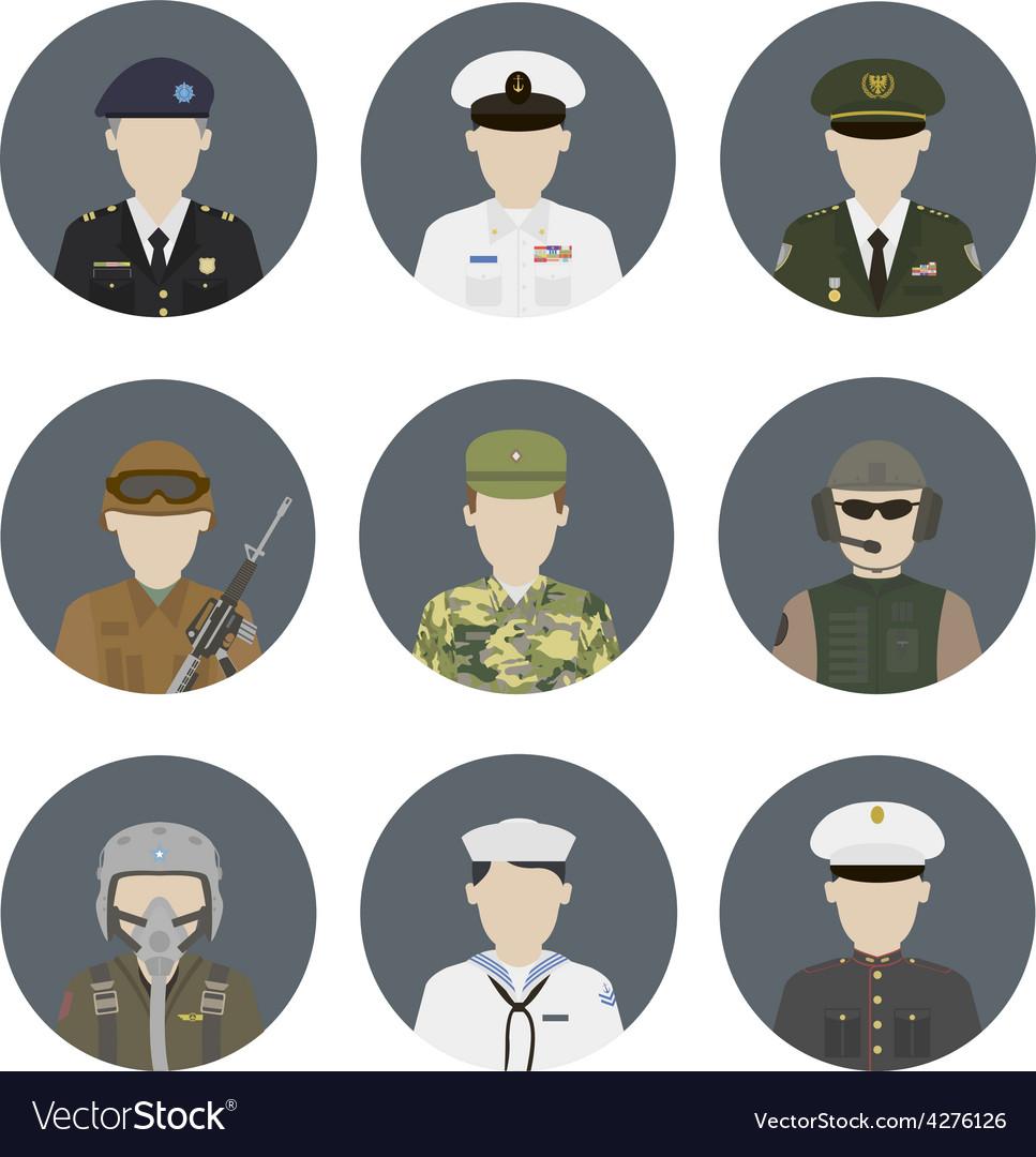 Military avatars set vector