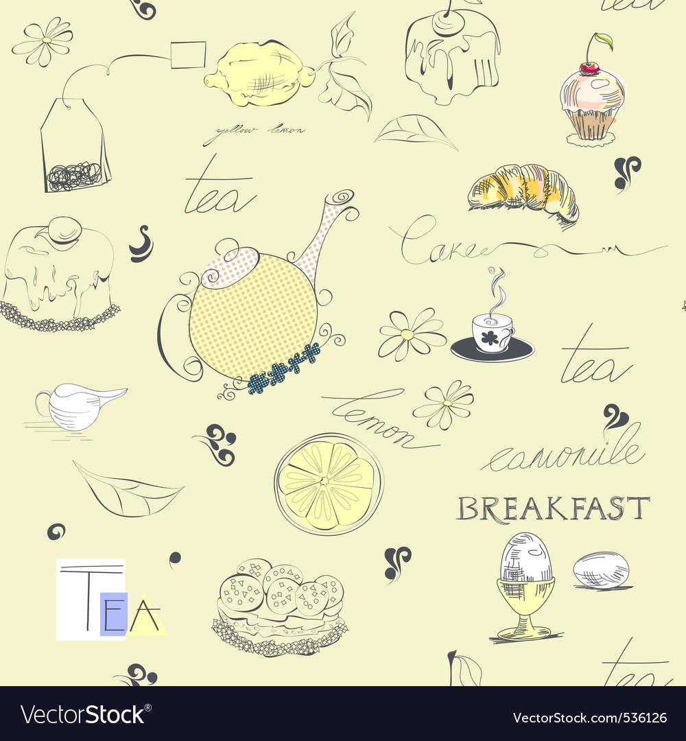 Seamless background tea set vector