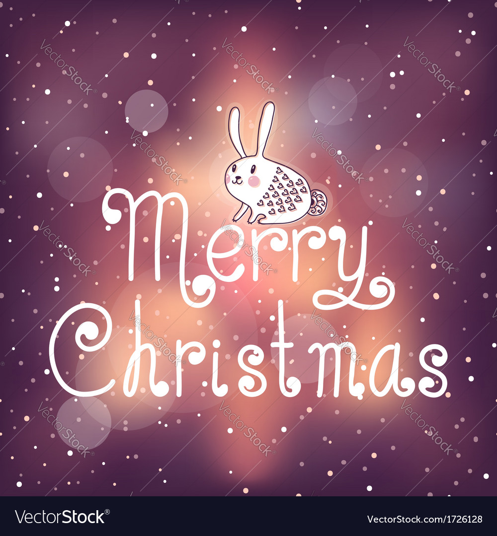 Bright christmas card with bunny vector