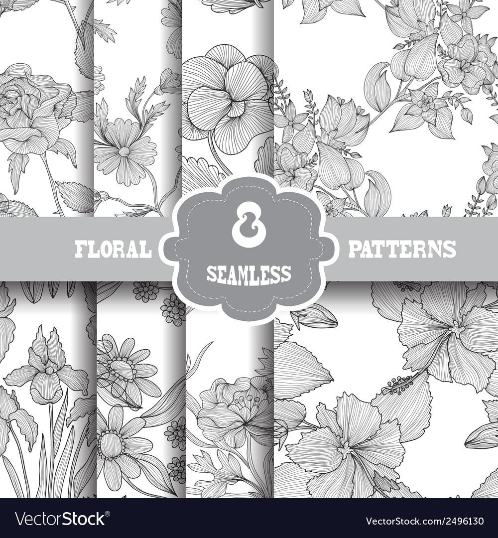Seamless patterns set vector